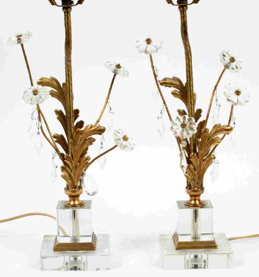 """CRYSTAL AND GILT METAL TABLE LAMPS PAIR, H 26"""""""