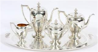 REED & BARTON 'POINTED ANTIQUE' STERLING TEA SET