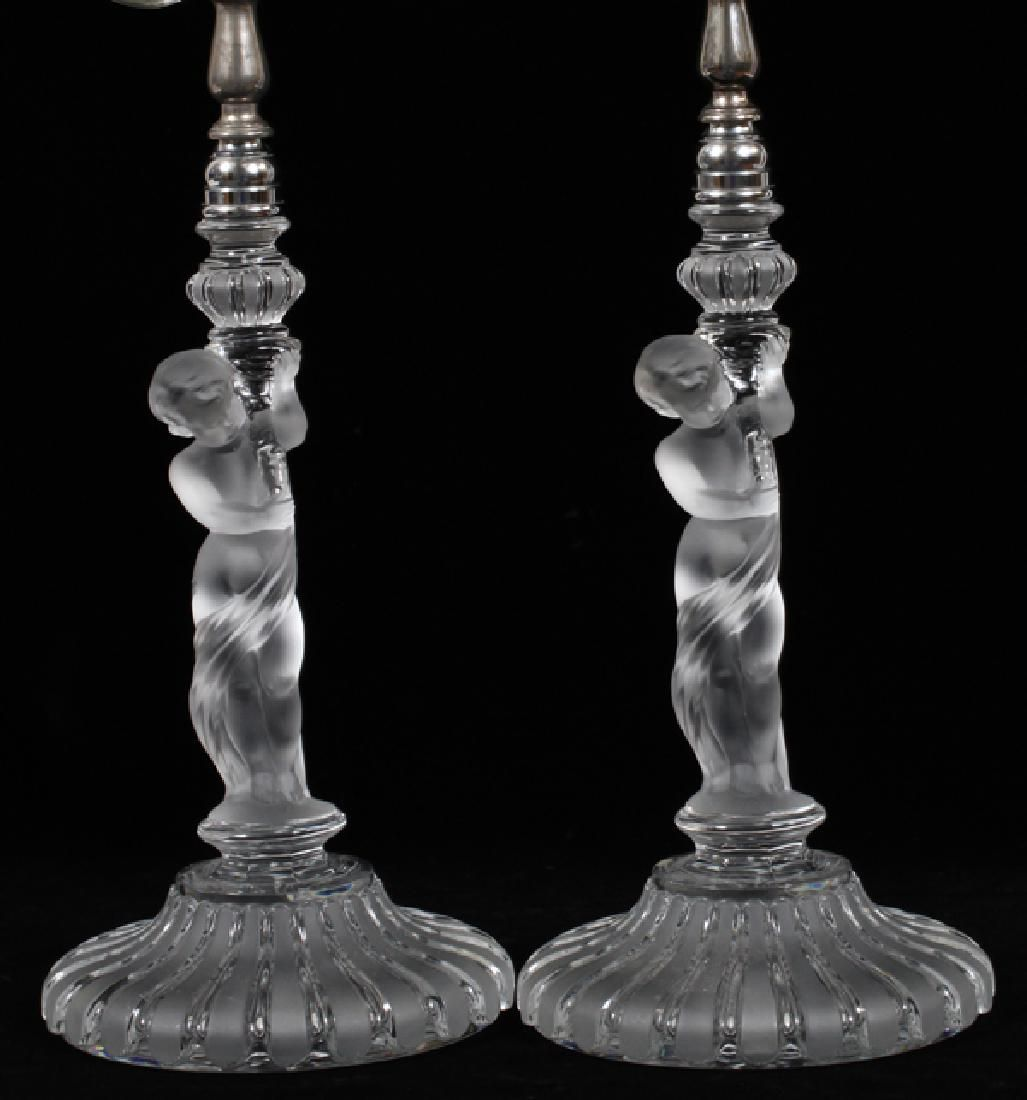 "BACCARAT FIGURAL CRYSTAL LAMPS, PAIR, H 23"""