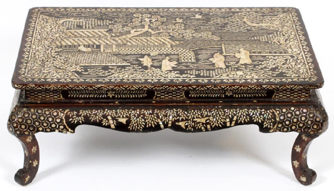 CHINESE LACQUER AND MOTHER OF PEARL TABLE STAND