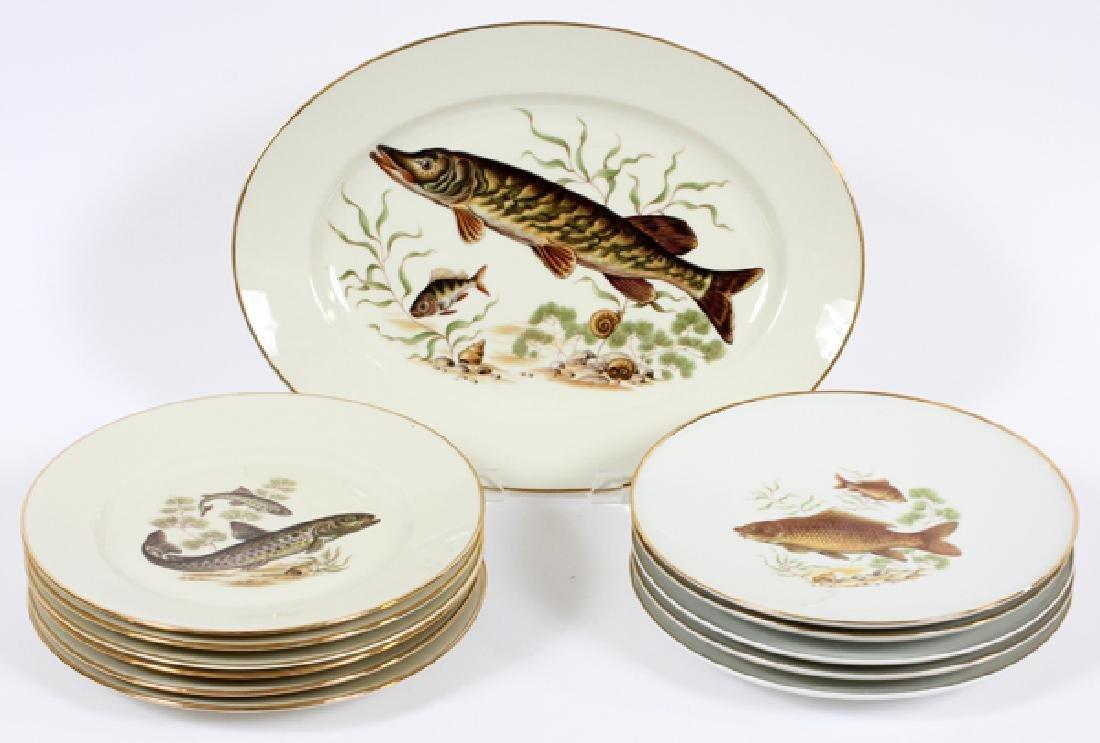 BAYREUTH, BAVARIA PORCELAIN FISH PLATES 11
