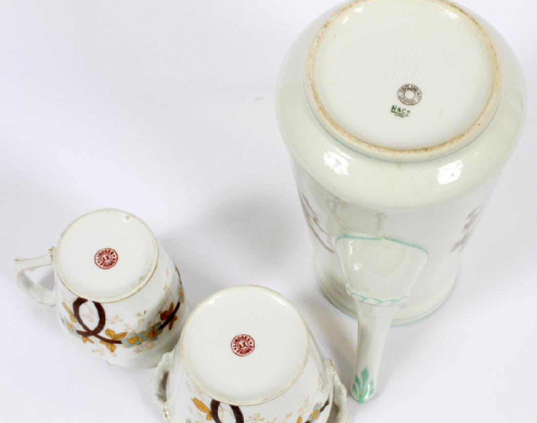 HAVILAND LIMOGES COFFEE POT CREAMER & SUGAR - 3
