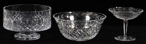 WATERFORD CRYSTAL GROUPING THREE PIECES