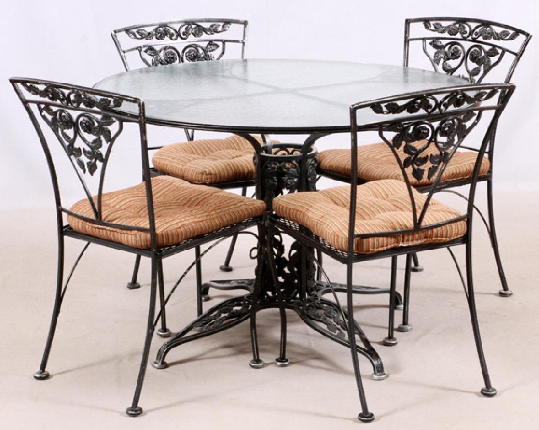 WROUGHT IRON TABLE AND CHAIRS 5 PCS