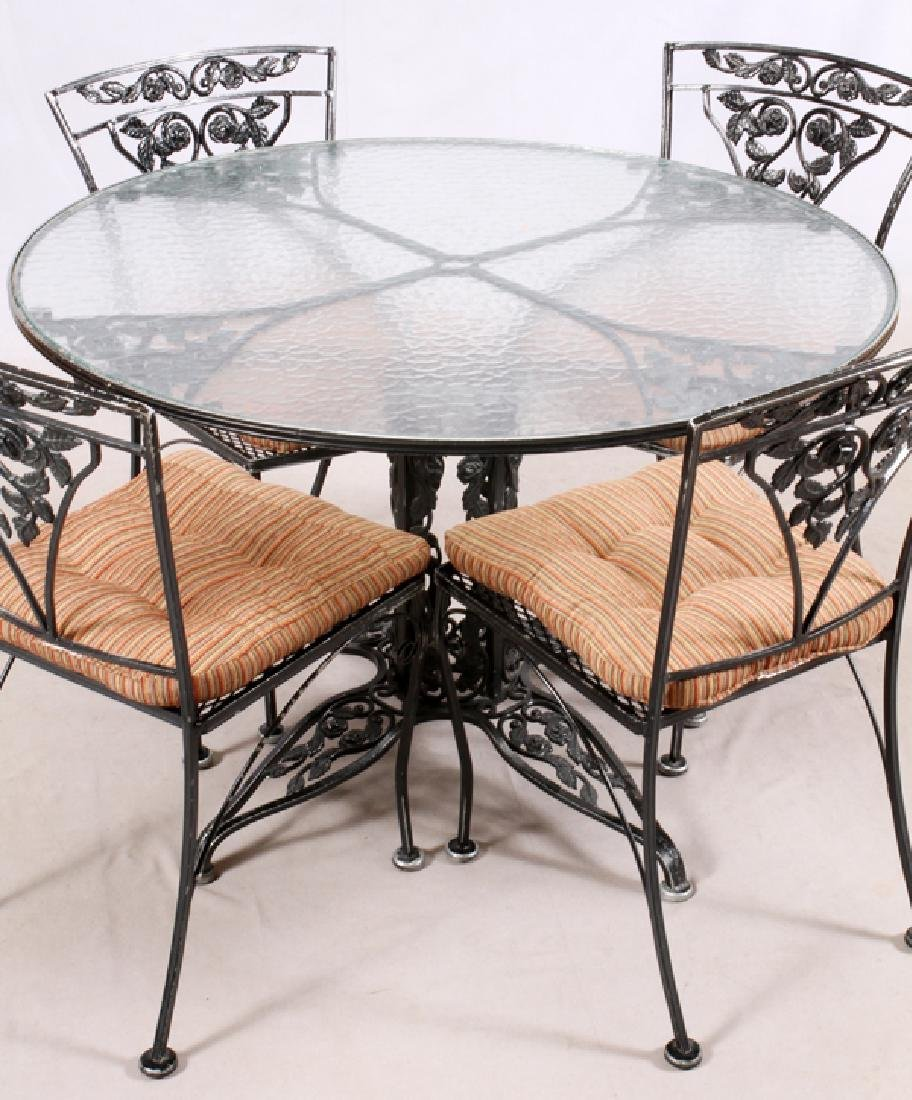 WROUGHT IRON TABLE AND CHAIRS 5 PCS - 2