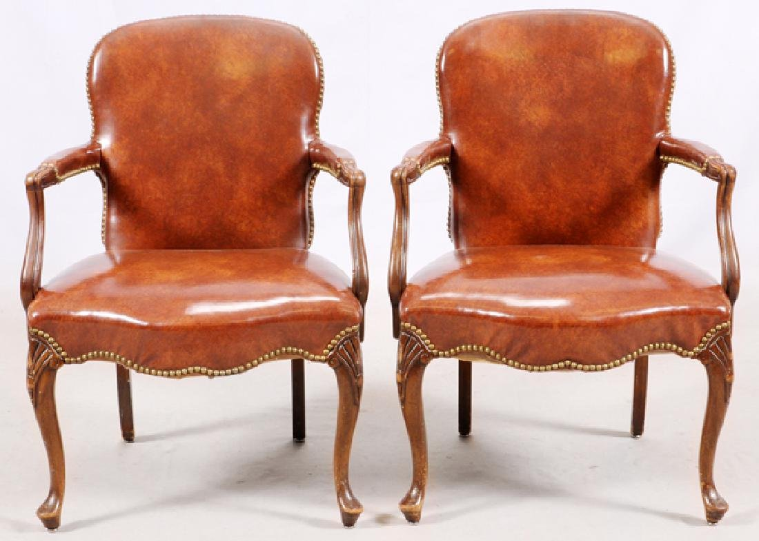 QUEEN ANNE STYLE OPEN ARM CHAIRS