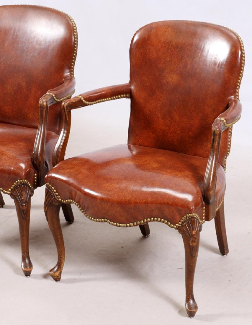 QUEEN ANNE STYLE OPEN ARM CHAIRS - 2