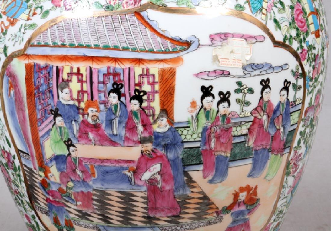 CHINESE ROSE MEDALLION PORCELAIN COVERED URNS - 4