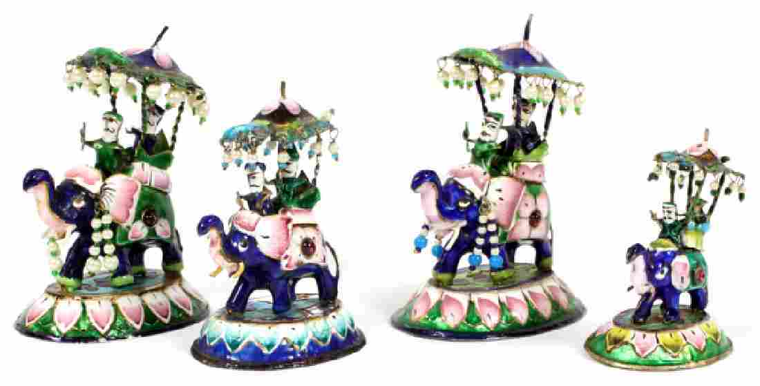 ENAMEL DECORATED  MINIATURE ELEPHANTS LOT OF FOUR
