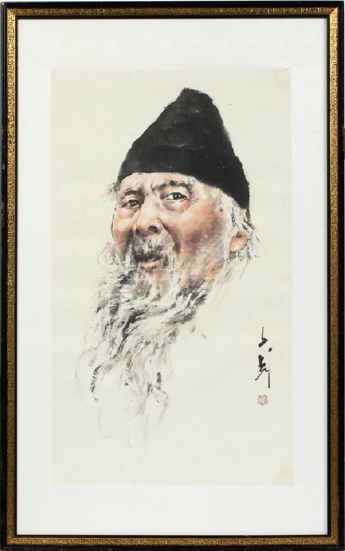 CHINESE WATERCOLOR ON PAPER, PORTRAIT OF A MAN