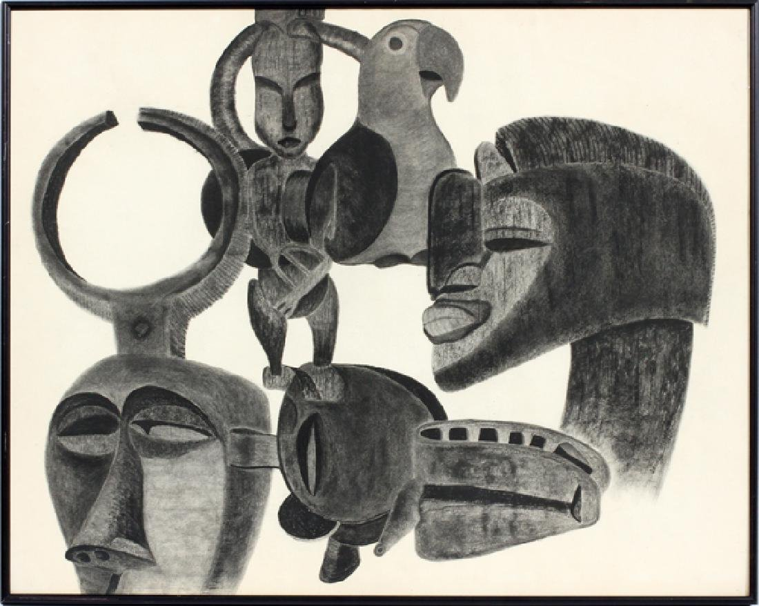 J. MELDRUM PRINT ON PAPER, C. 1967, AFRICAN MASKS