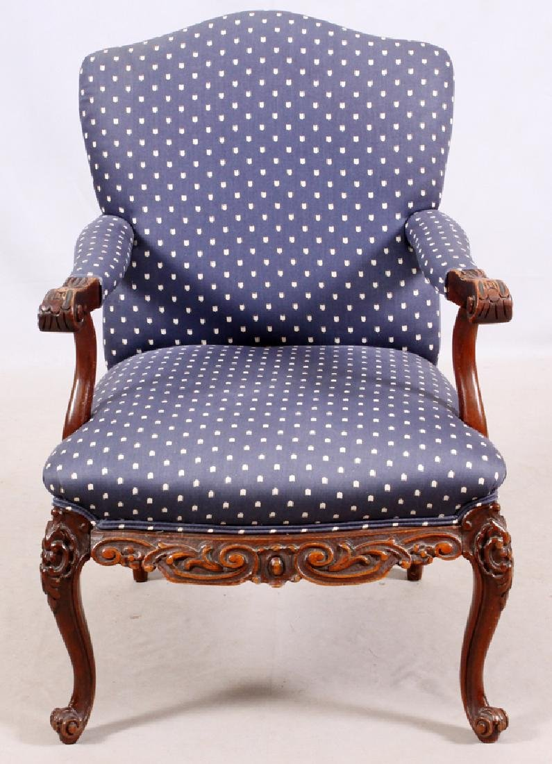 FRENCH STYLE CARVED WOOD & UPHOLSTERED ARM CHAIR