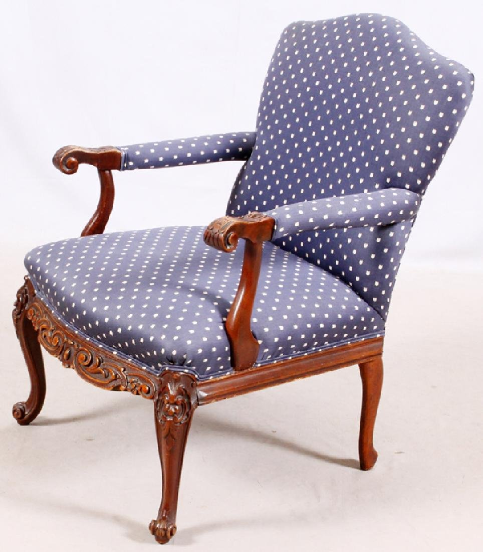 FRENCH STYLE CARVED WOOD & UPHOLSTERED ARM CHAIR - 2