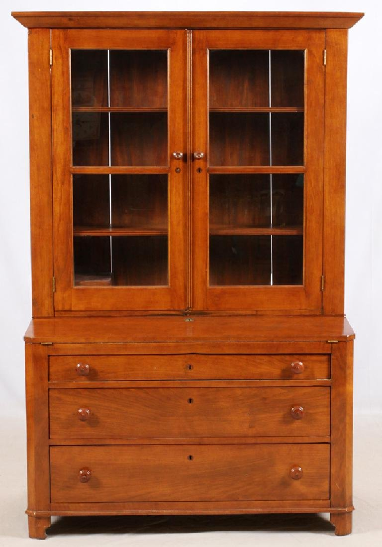 "OAK GLASS DOOR CHINA CABINET, H 77"", L 48"", D 22"""