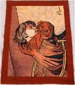 HAND WOVEN PICTORIAL WOOL MAT 1904 W 22 L 27