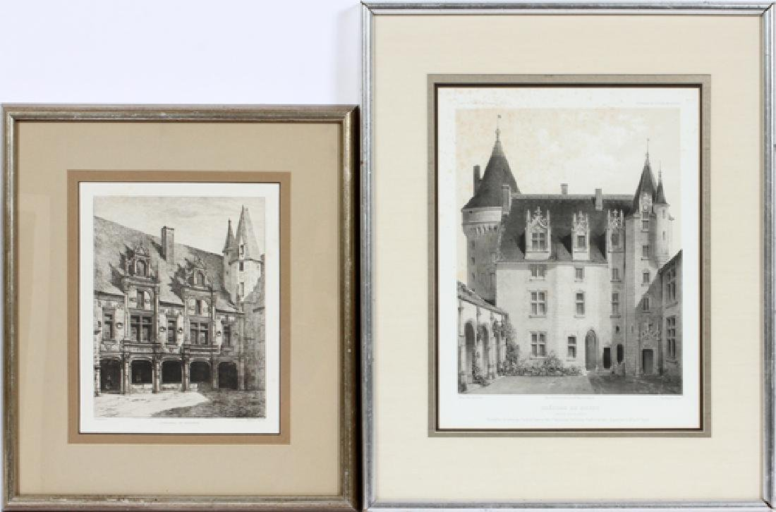 FRENCH ARCHITECTURAL LITHOGRAPHS, TWO
