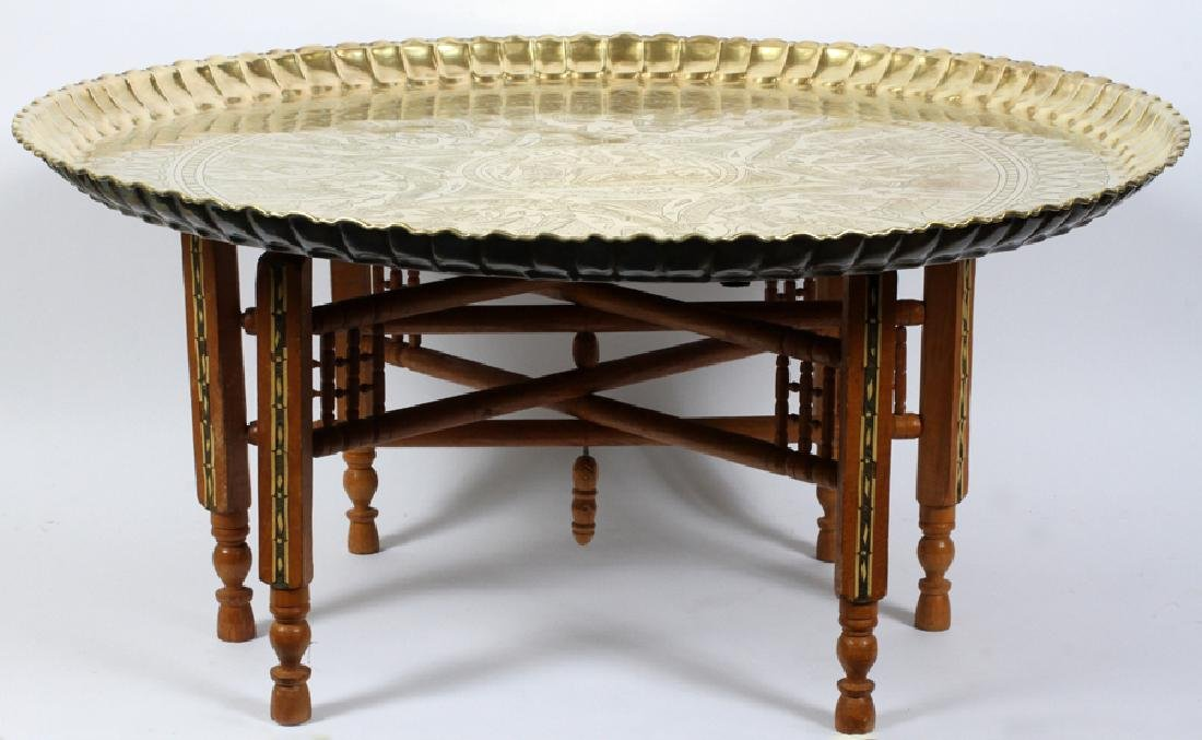 EGYPTIAN, BRASS TRAY TABLE AND STAND, C1950
