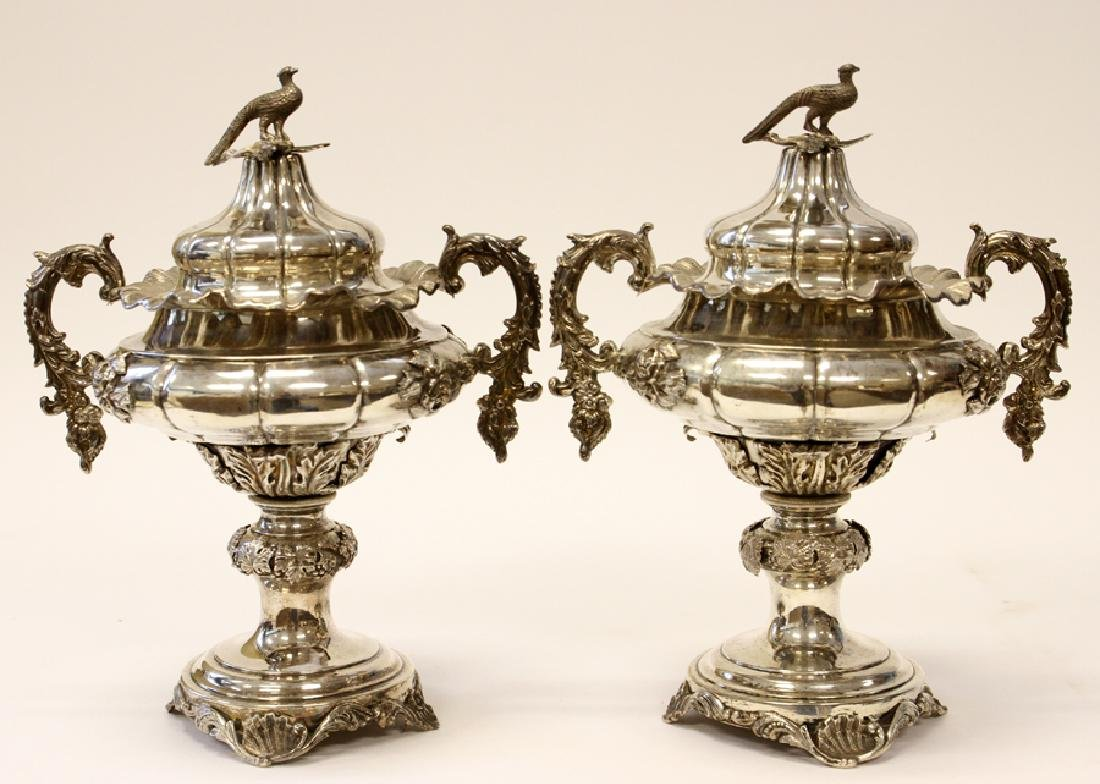 SWEDISH STERLING SILVER URNS, PAIR