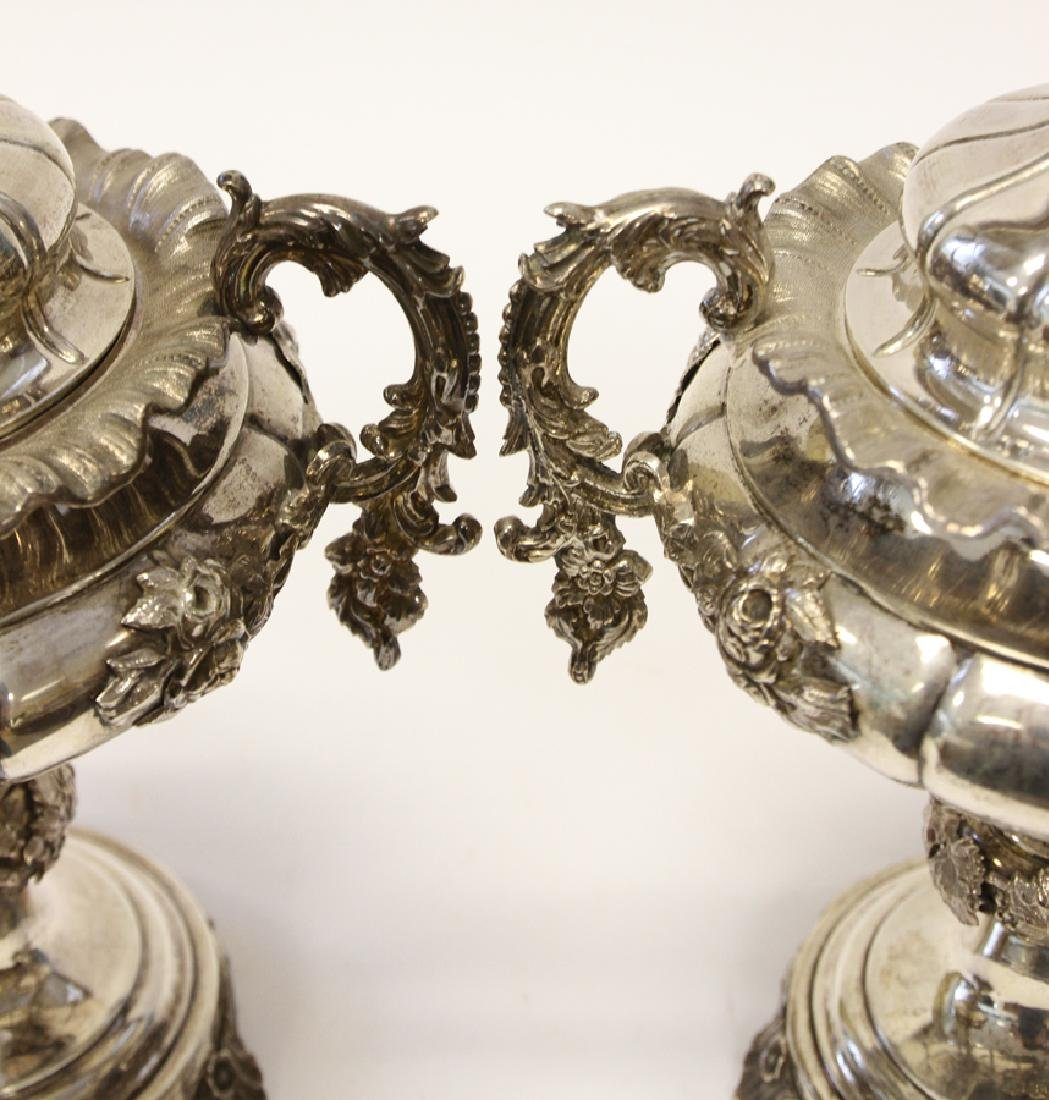 SWEDISH STERLING SILVER URNS, PAIR - 3