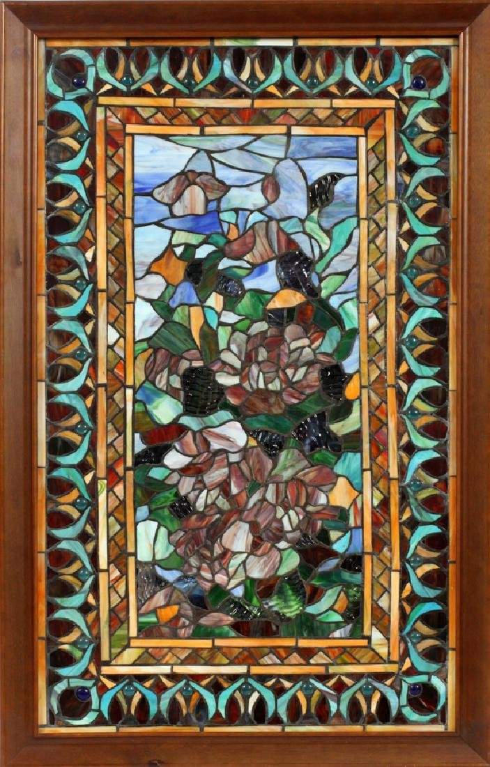 "LEADED GLASS WINDOW CIRCA 1900 H 33"" W 20"""