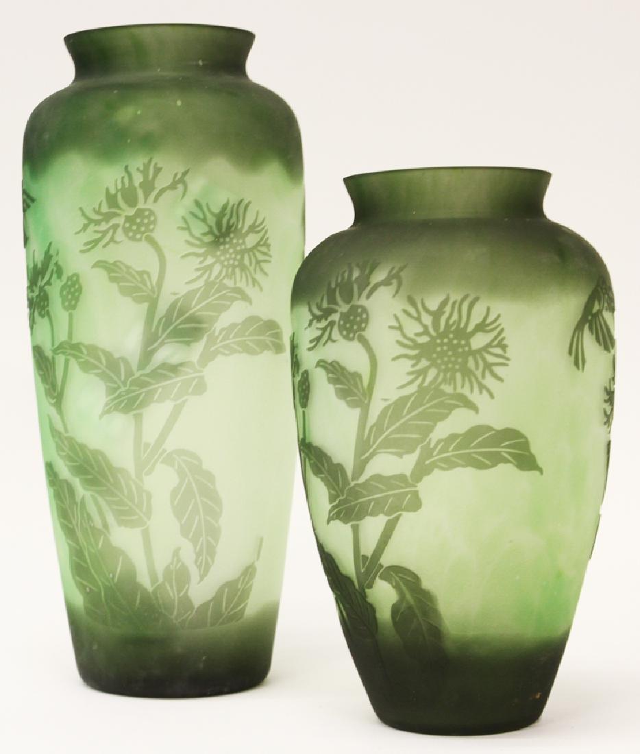 EMERALD GREEN HAND BLOWN GLASS VASES
