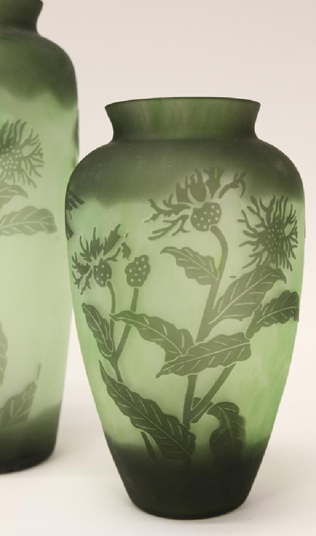 EMERALD GREEN HAND BLOWN GLASS VASES - 2
