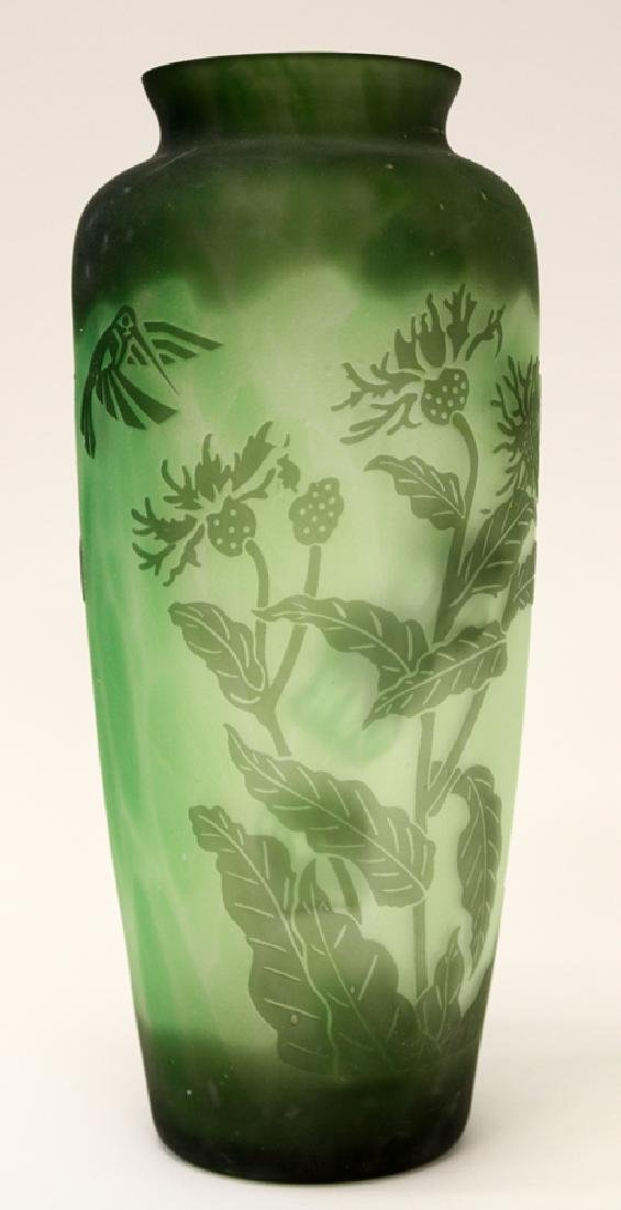 EMERALD GREEN HAND BLOWN GLASS VASES - 3