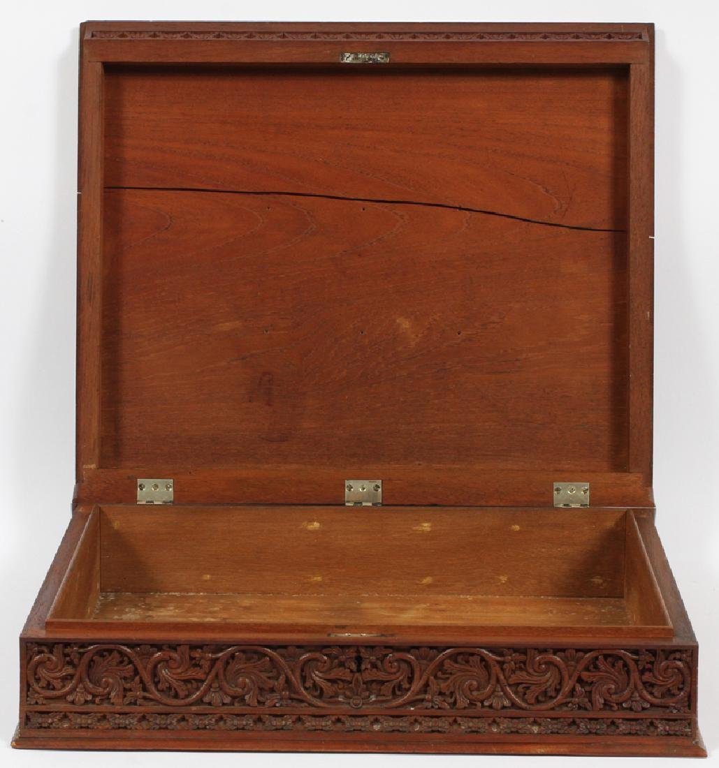 ANTIQUE CARVED BIBLE BOX - 3