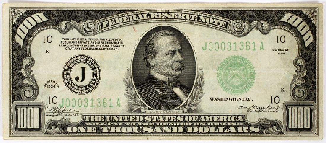 US FEDERAL RESERVE NOTE $1,000, 1934