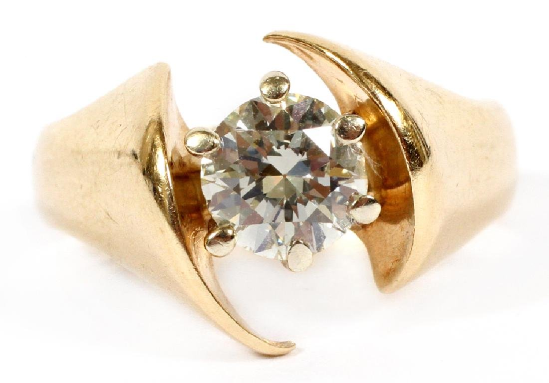 DIAMOND (1.04CT.) 14K YELLOW GOLD SOLITAIRE RING