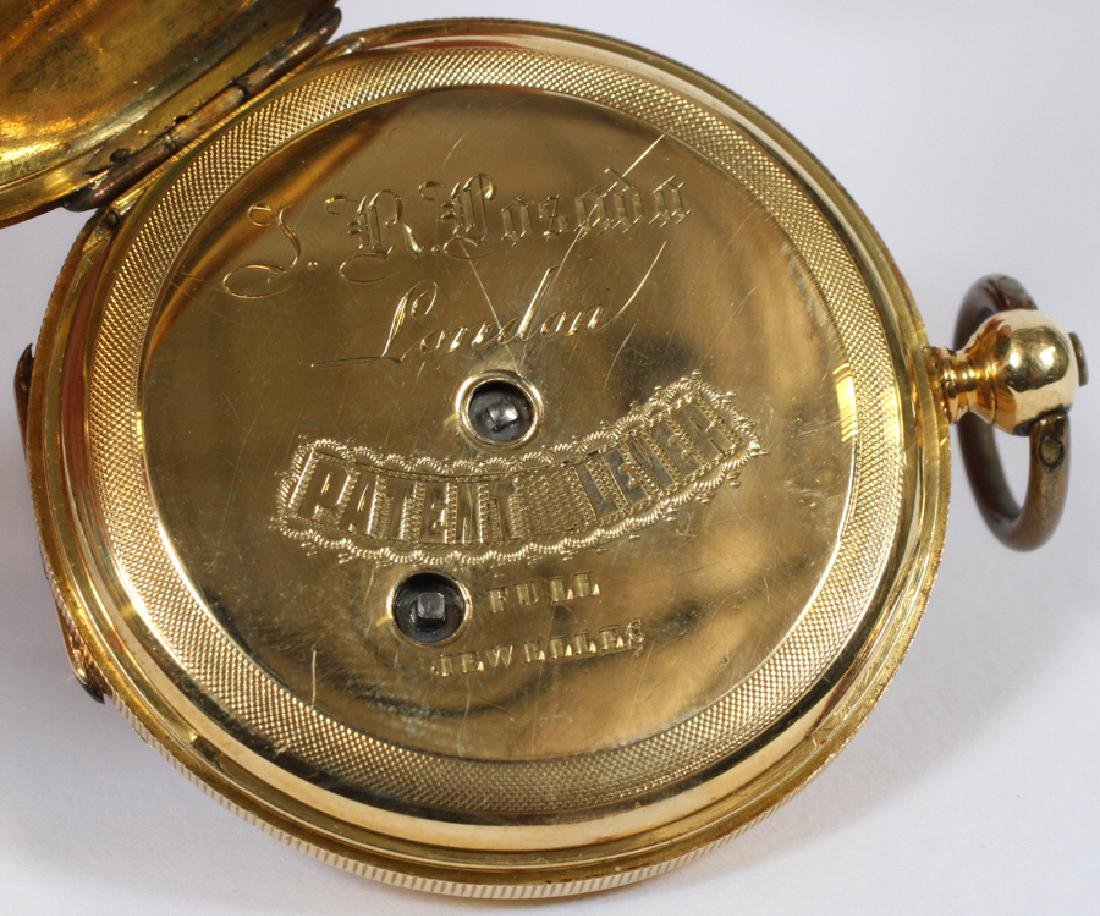 J R  PUSADA LONDON ENAMEL & GOLD POCKET WATCH - 7