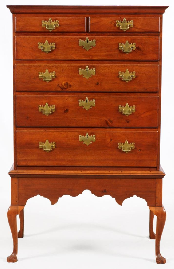 QUEEN ANNE MAHOGANY HIGHBOY, C. 1760