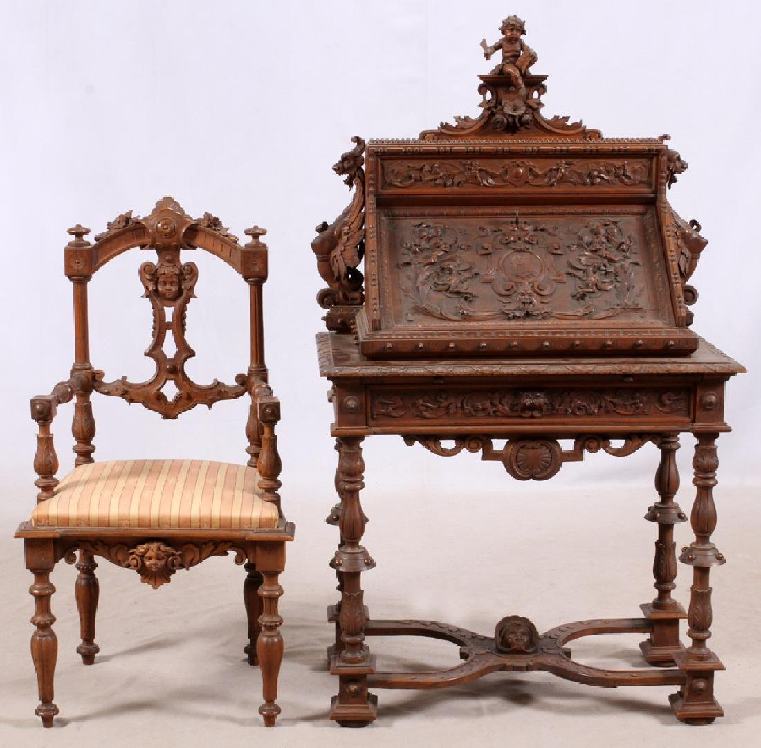 ITALIAN CARVED WALNUT SLANT FRONT DESK ALSO CHAIR
