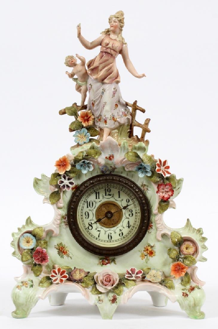 GERMAN PORCELAIN MANTLE CLOCK, CIRCA  1900