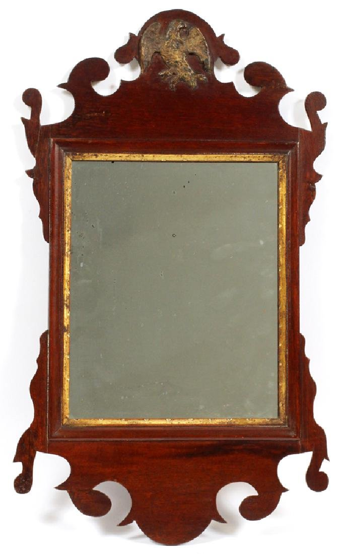 CHIPPENDALE MAHOGANY CARVED MIRROR