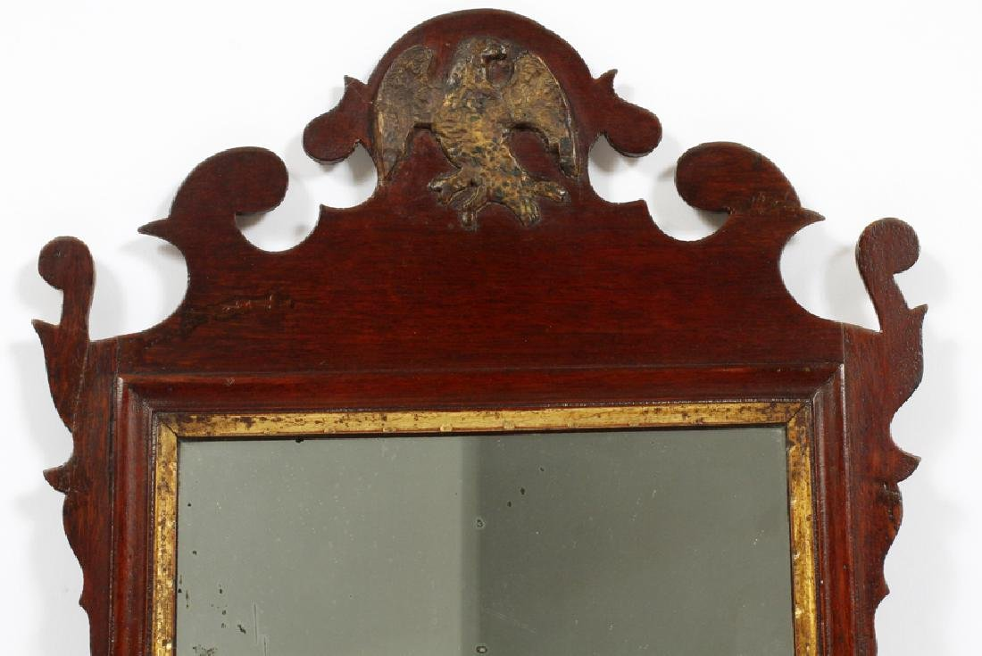 CHIPPENDALE MAHOGANY CARVED MIRROR - 2