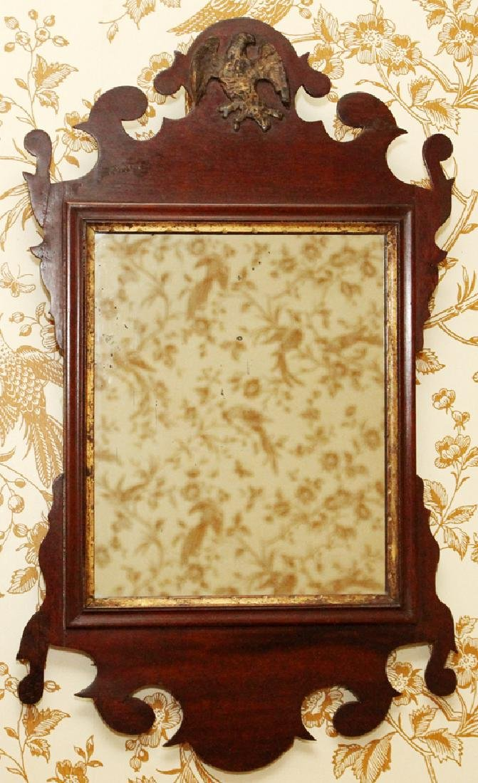 CHIPPENDALE MAHOGANY CARVED MIRROR - 4