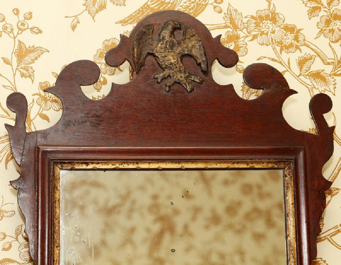 CHIPPENDALE MAHOGANY CARVED MIRROR - 5