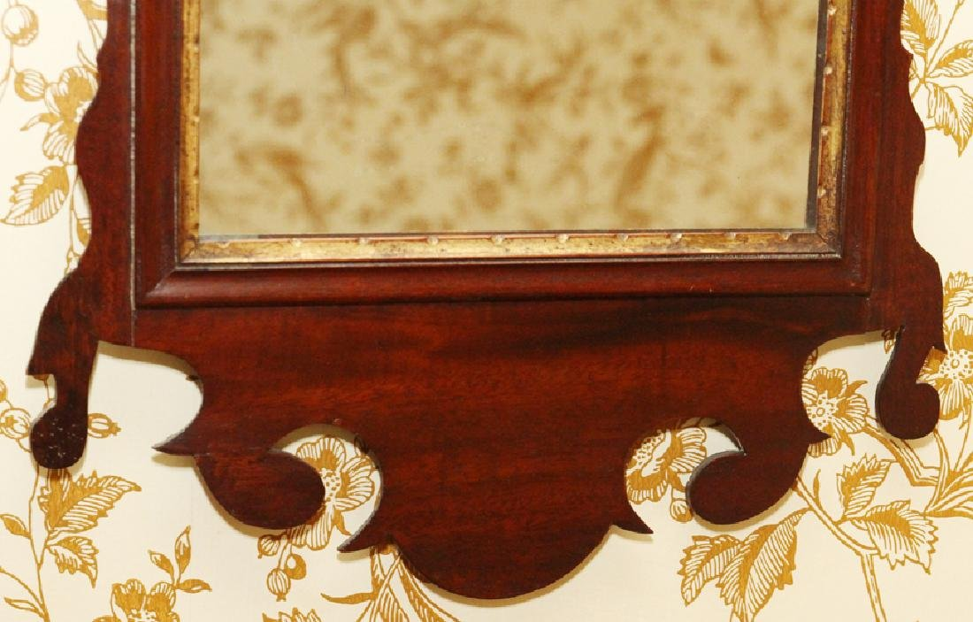 CHIPPENDALE MAHOGANY CARVED MIRROR - 6