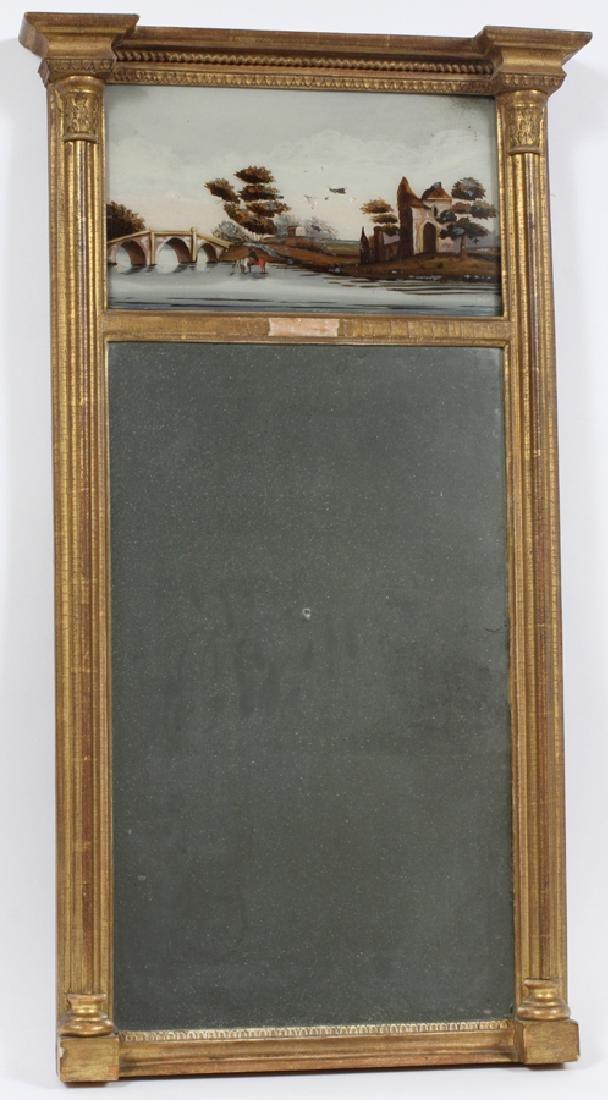 CIRCA 1850 WALL  MIRROR, EGLOMISE PANEL