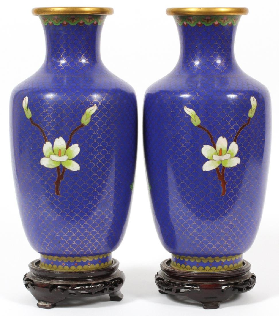 CHINESE CLOISONNE VASES, PAIR - 2
