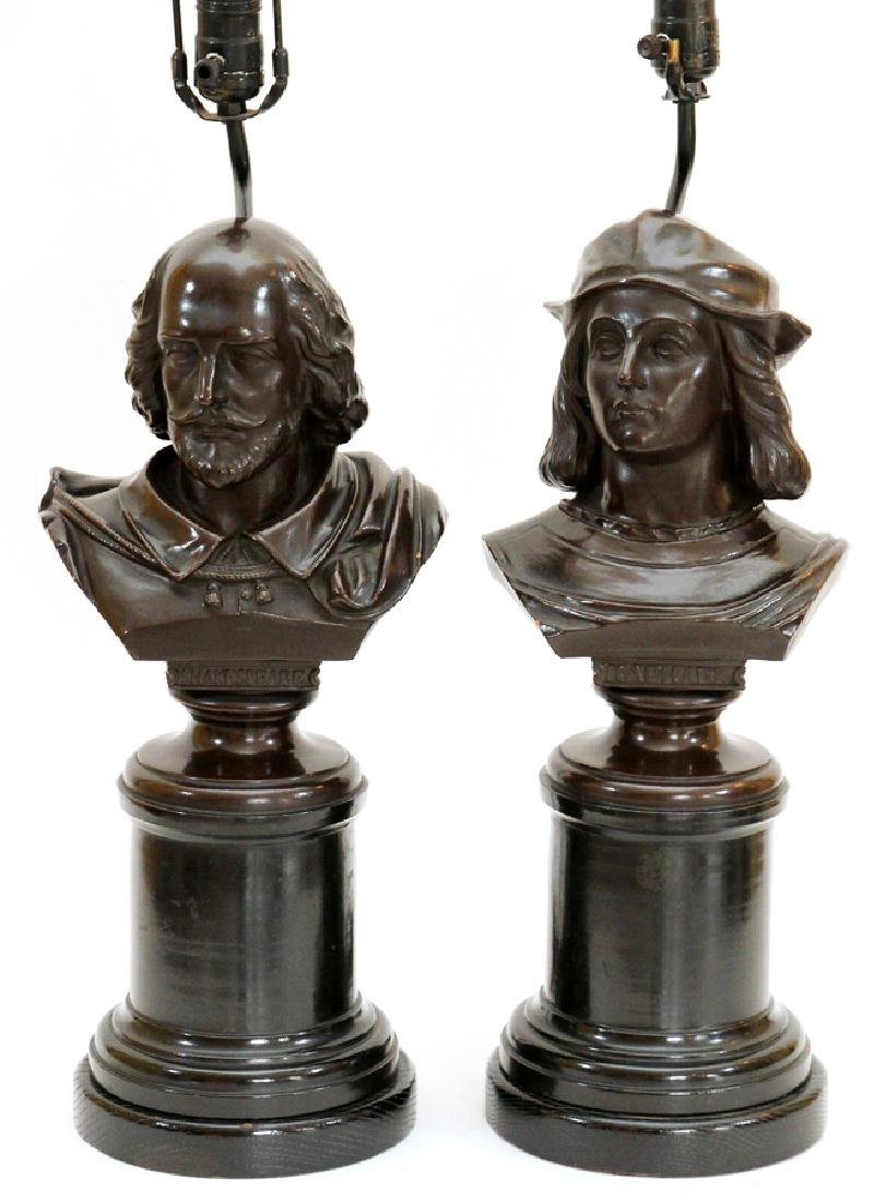 BRONZE PATINA BUSTS CONVERTED TO LAMPS