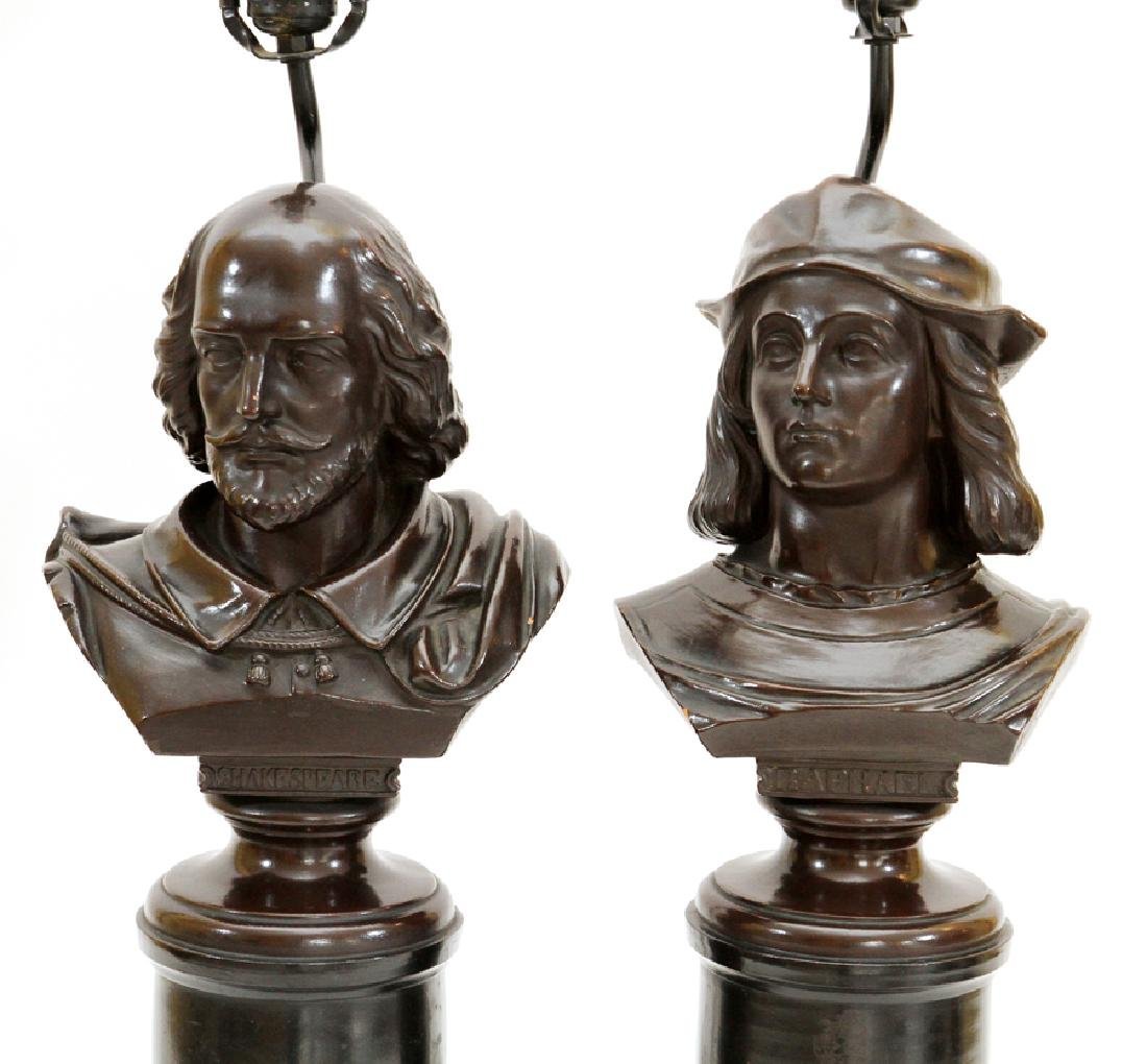 BRONZE PATINA BUSTS CONVERTED TO LAMPS - 2
