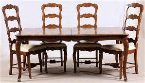 BAKER DINING ROOM TABLE AND FOUR CHAIRS