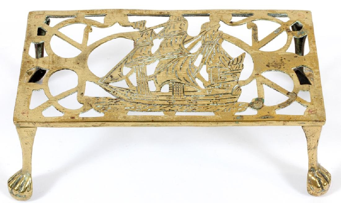 ENGLISH BRASS FIREPLACE TRIVET, 19TH C.
