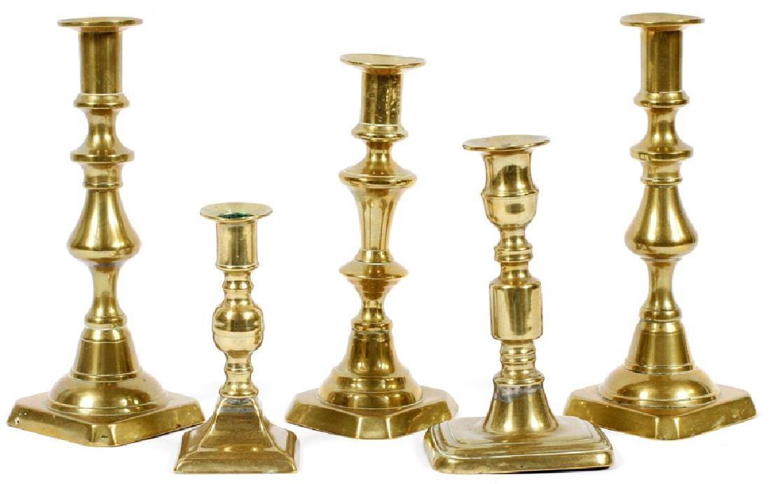 AMERICAN ANTIQUE BRASS CANDLESTICKS, 19TH.C.