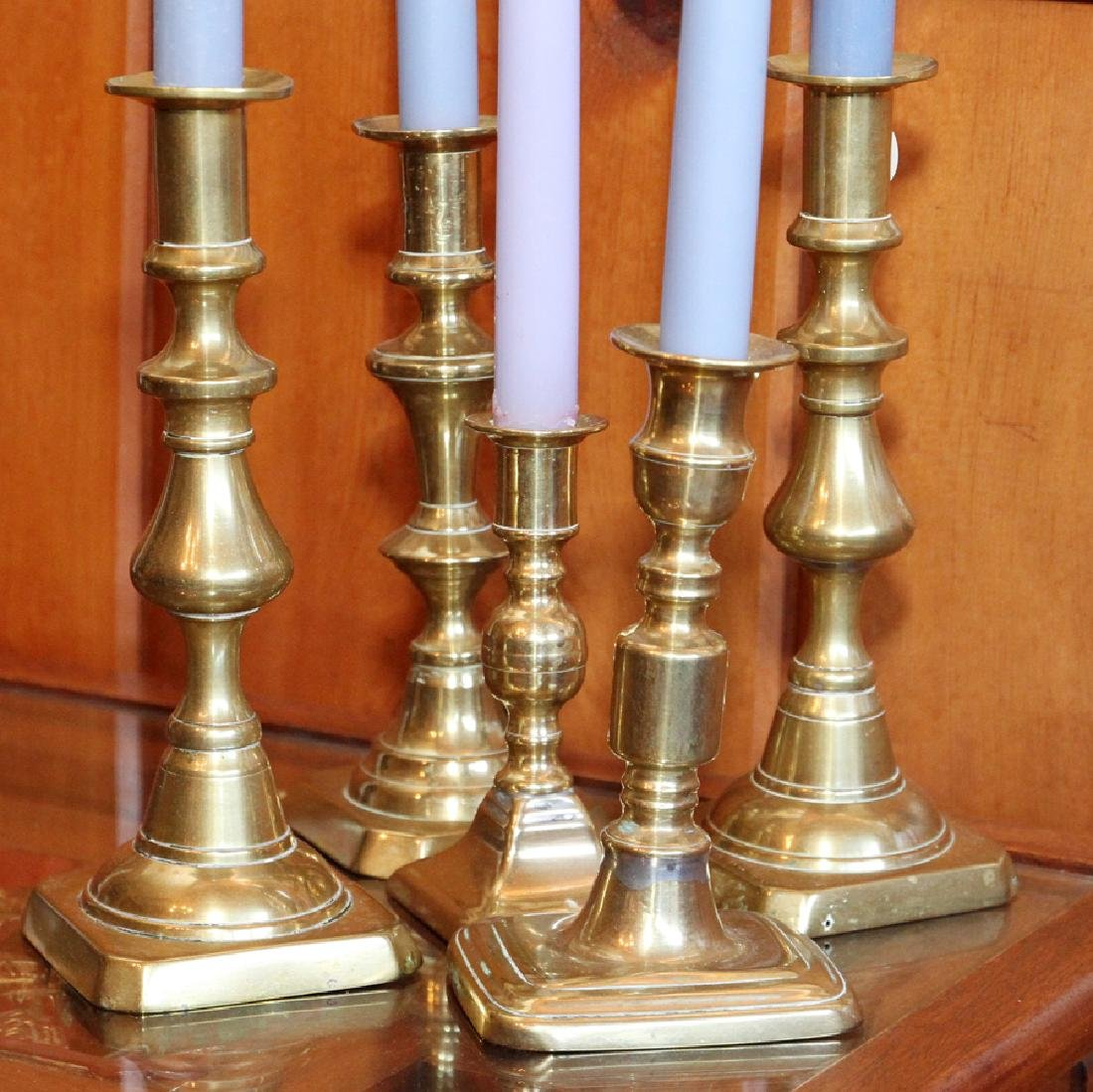 AMERICAN ANTIQUE BRASS CANDLESTICKS, 19TH.C. - 3