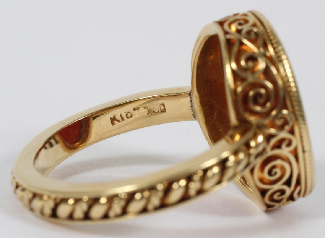 MANS 18KT YELLOW GOLD RING WITH RED INTAGLIO - 10