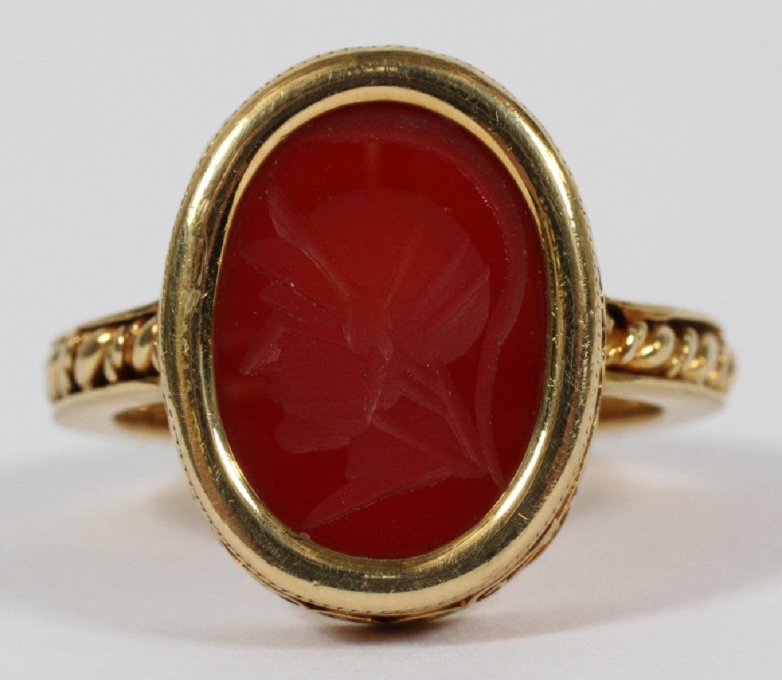 MANS 18KT YELLOW GOLD RING WITH RED INTAGLIO - 3