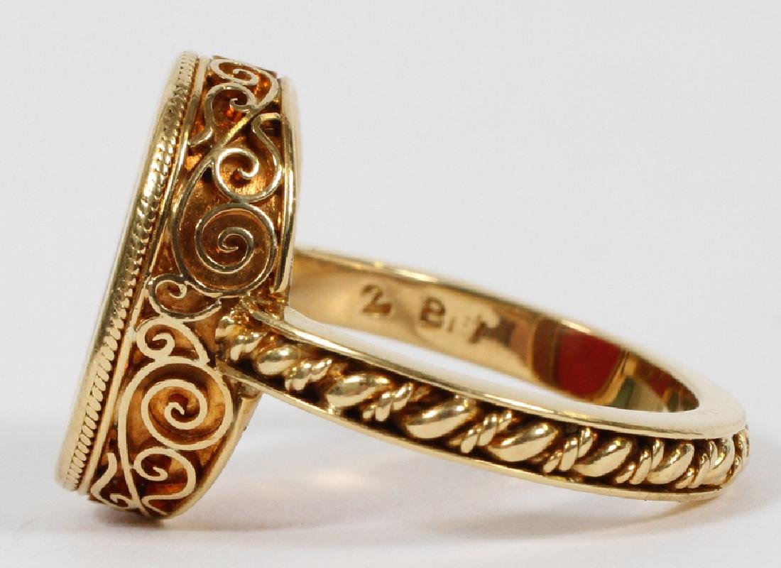 MANS 18KT YELLOW GOLD RING WITH RED INTAGLIO - 4